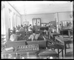 Students working in the print shop (left side), c.1885