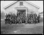 Large group of male students in front of YMCA building [version 1], 1892