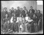 Two Cheyenne chiefs with a large group of students [version 1], c.1891