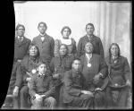 Five visiting chiefs with five male and one female student, c.1885