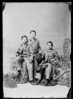 Three young male students in uniform, c.1884