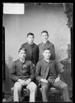 Nicholas Ruleau, Preston Three Bears, Felix Iron Eagle Feather, and an unidentified young man, 1887