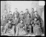 Three visiting chiefs with four male students and five female students, 1893
