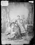 Dessie Prescott, Jennie Lawrence, Nellie Robertson, and Katie La Croix with Sarah Mather [version 1], c.1881