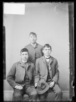 Juan Cordero, Awancishua, and an unidentified male student, c.1886