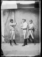 Jonas Place, Morgan Toprock, and Robert Penn in baseball poses, c 1887